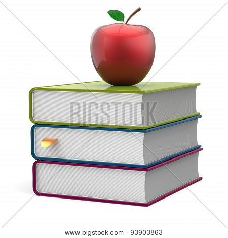 Books Textbook Stack Multicolor And Red Apple Studying Icon