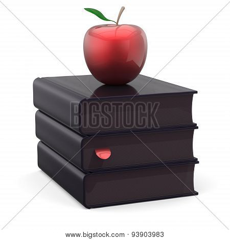 Books Black Textbook Stack And Red Apple Wisdom Icon