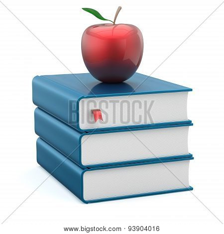 Books Textbook Stack Blank Blue And Red Apple Education