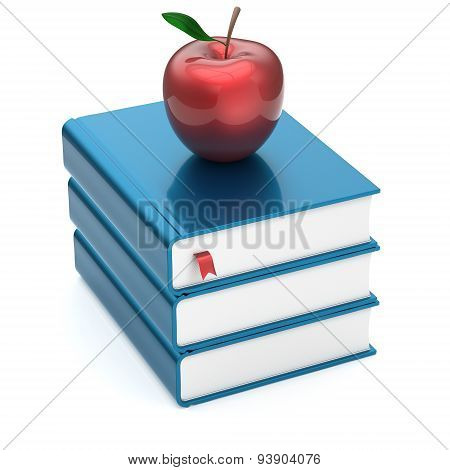 Books Textbooks Stack Blue Blank Covers And Red Apple