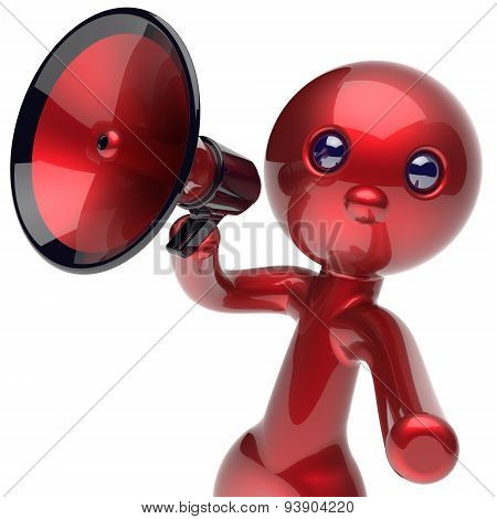 Man Making Announcement Megaphone Character Red Icon