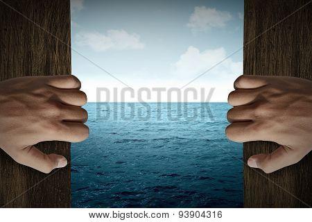 Man Hand Open Door Into The Sea