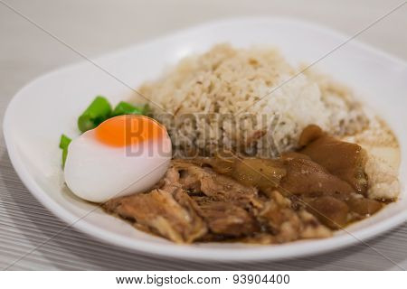 Stewed Pork Leg With Rice And Boiled Egg