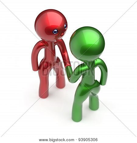 Two Men Handshake Characters Acquaintance Agreement