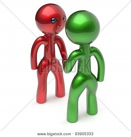 Two Men Shaking Hand Cartoon Characters Business Partners