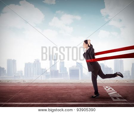 Asian Business Woman In A Finishing Line