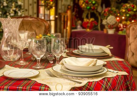 Traditional dishware on Christmas table