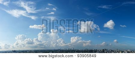 Blue Sky And White Cloud Over The Cityscape