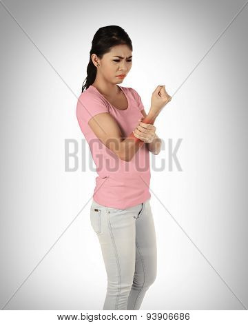 Young Asian Woman Have Arm Pain