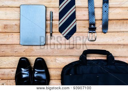 Men Accessories On Wooden Background, Business Themes