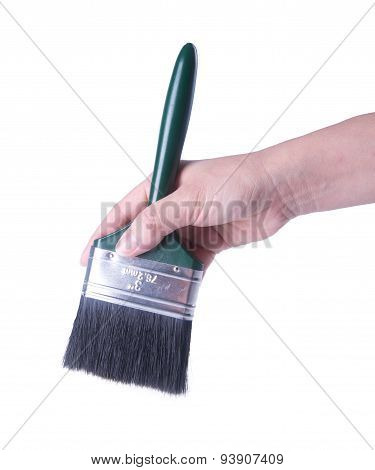 paint brush with hand on a background