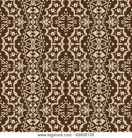 Contrast Brown Tribal Seamless Ornament