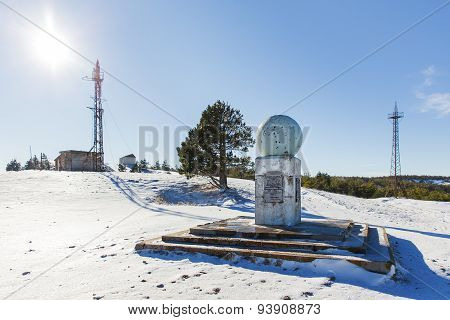 Meteorological Tower And Monument On The Top Of Ai-petri Mountain. Snow And Frosted Pine Trees.