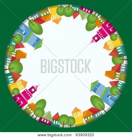 Colorful Town Circle Composition