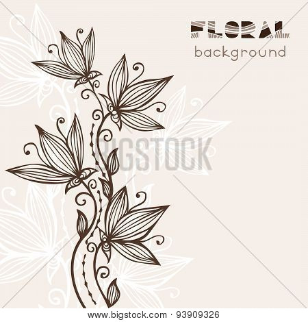 Vintage Floral Background With Abstract Flowers