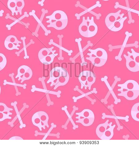 Cute Pink Skulls And Bones For Repeatable Pattern