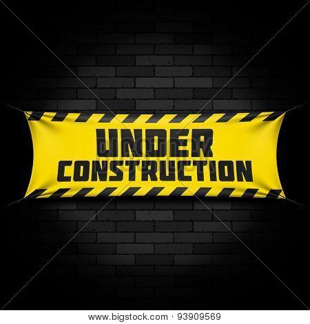 Website under construction banner on black. Vector.
