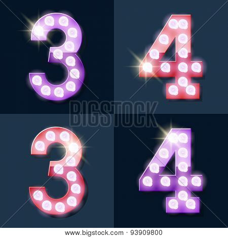 Festive pink and purple vector lamp alphabet for party, cinema and other entertainment. Numbers 3 4