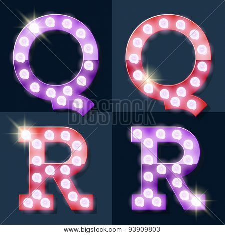Festive pink and purple vector lamp alphabet for party, cinema and other entertainment. Letters Q R