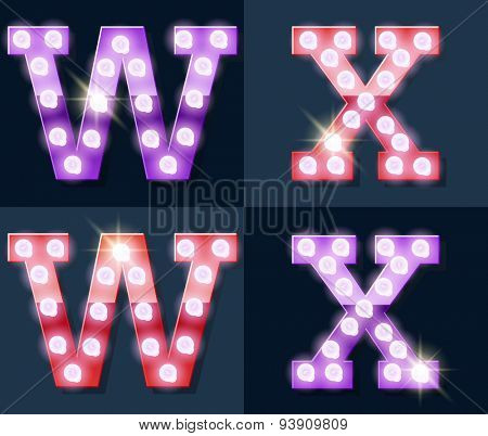 Festive pink and purple vector lamp alphabet for party, cinema and other entertainment. Letters W X
