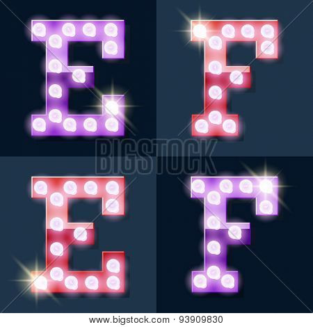 Festive pink and purple vector lamp alphabet for party, cinema and other entertainment. Letters E F