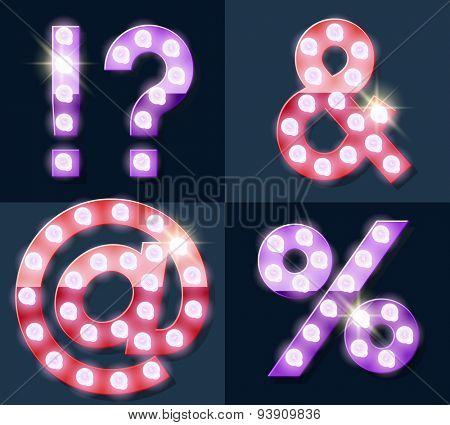 Festive pink and purple vector lamp alphabet for party, cinema and other entertainment. Symbols