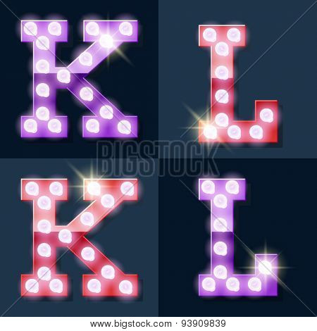 Festive pink and purple vector lamp alphabet for party, cinema and other entertainment. Letters K L