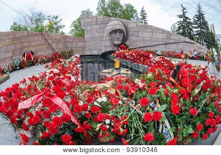 Eternal Flame And Flowers In Memory Of The Victory In The Great Patriotic War