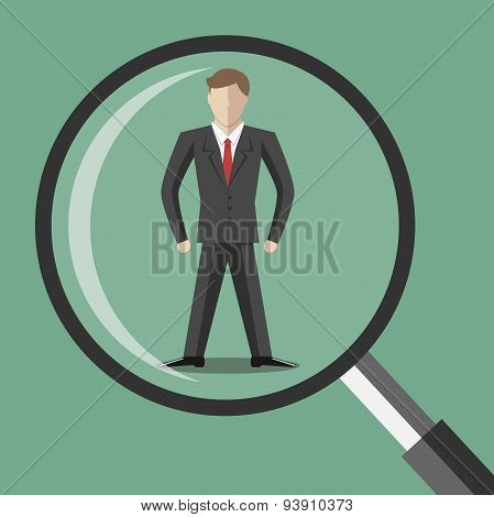 Abstract Man Under Magnifier