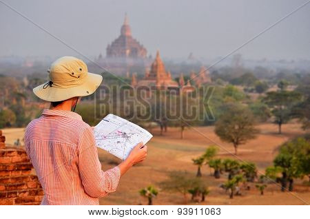 Woman In Bagan During Sunshine