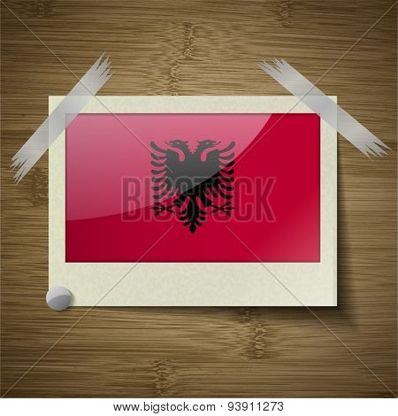 Flags Albania At Frame On Wooden Texture. Vector