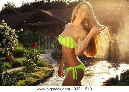 Beautiful Girl With  Long Straight Hair Wearing Elegant Bikini