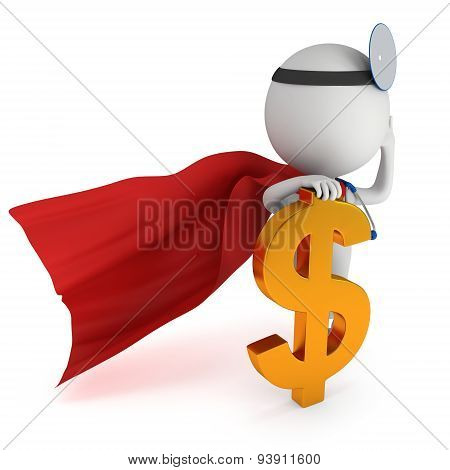 3D White Super Doctor Stand With Golden Dollar Sign