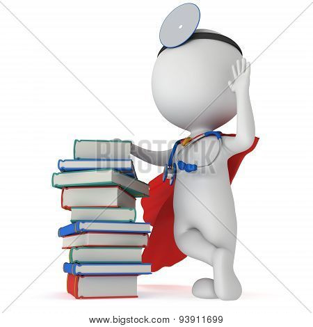Superhero Doctor With Books