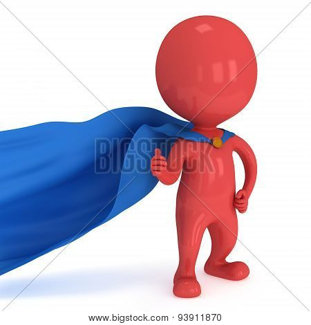 Brave Superhero With Blue Cloak