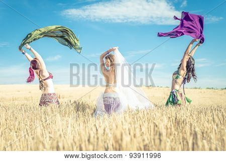 Three Belly Dancer In The Wheat