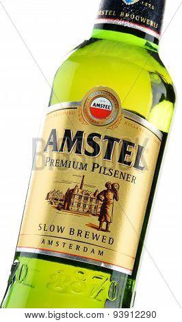Bottle Of Amstel Premium Pilsener Isolated On White
