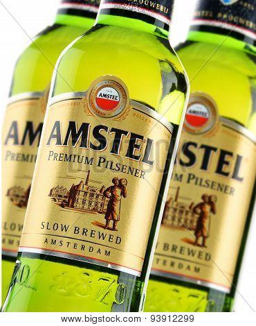 Bottles Of Amstel Premium Pilsener Isolated On White