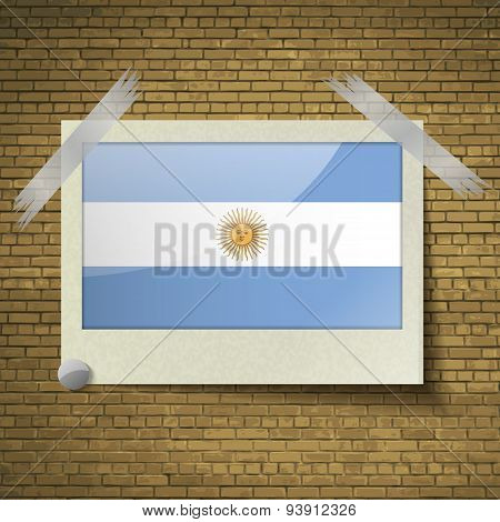 Flags Of Argentina At Frame On A Brick Background. Vector