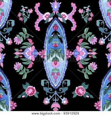 Beautiful Watercolor paisley seamless pattern.