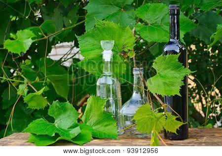 Bottles In A Vineyard