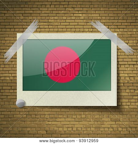 Flags Bangladesh At Frame On A Brick Background. Vector