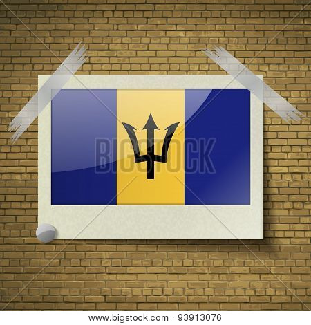 Flags Barbados At Frame On A Brick Background. Vector