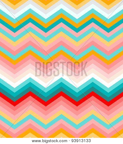 Beige, pink, red and turquoise chevron seamless pattern background vector