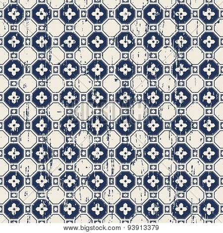 Seamless vintage Chinese window tracery flower check pattern background.