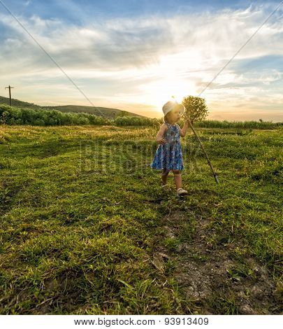 Little Girl Shepherd With Her Staff Lost Her Lambs