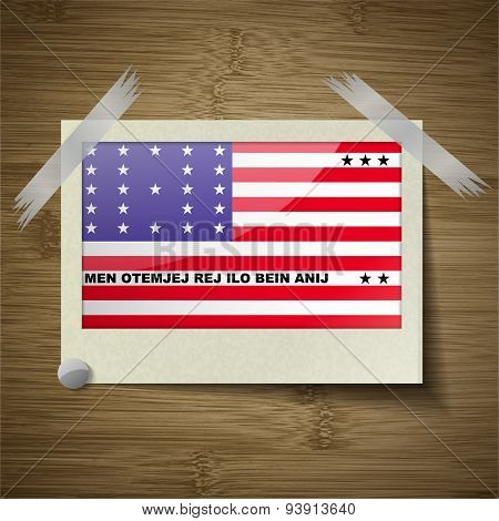 Flags Bikini Atoll At Frame On Wooden Texture. Vector