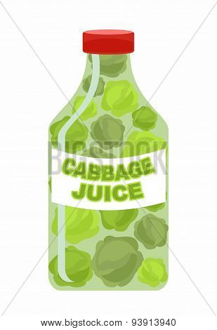 Cabbage juice. Juice from fresh vegetables. Cabbage in a transparent bottle. Vitamin drink for healt