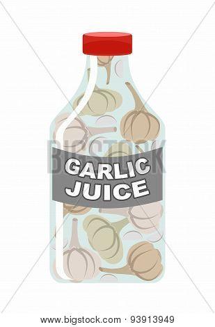 Garlic juice. Juice from fresh vegetables. Garlic in a transparent bottle. Vitamin drink for healthy