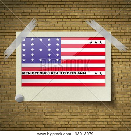 Flags Bikini Atoll At Frame On A Brick Background. Vector